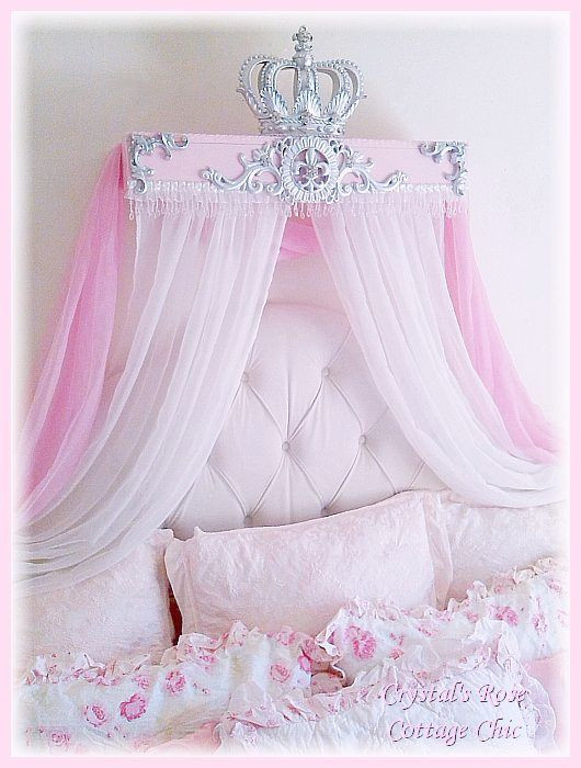 French Flourish, Pink and Silver, Crown Canopy Teester ...Color Choices
