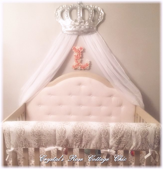 Silver Bella Bed Crown Canopy over Crib Nursery Decor