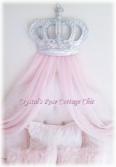 Silver Bella Bed Crown with Rhinestones...Color Choices
