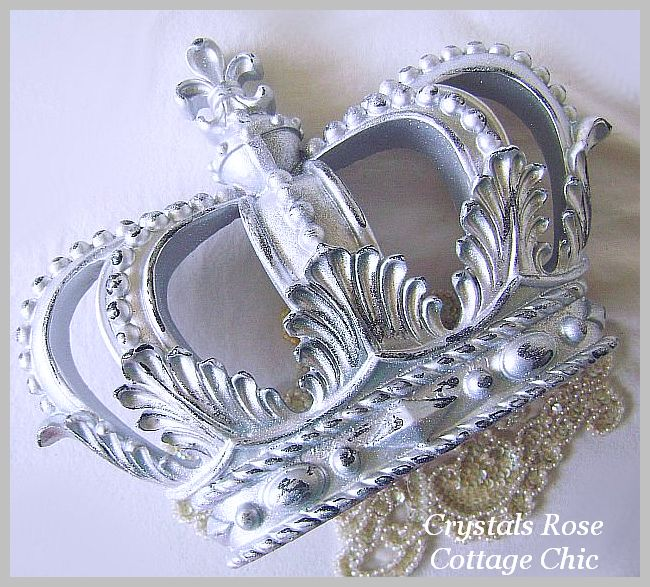 Distressed Silver Glittered Fleur de Lis Wall or Bed Crown