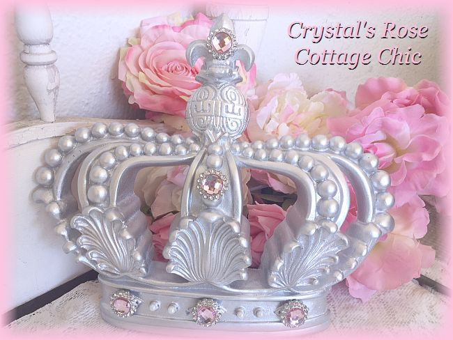 Silver Crown with Pink Rhinestones