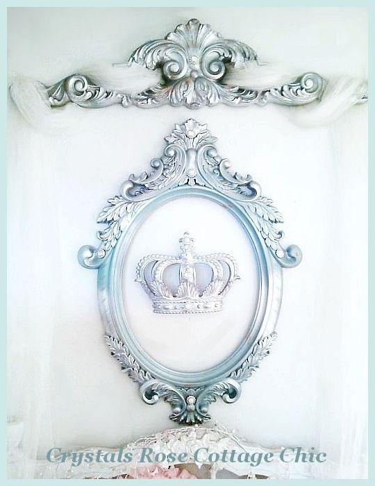 Silver Lux Ornate Oval Frame with Fleur de Lis Crown  Color Choices