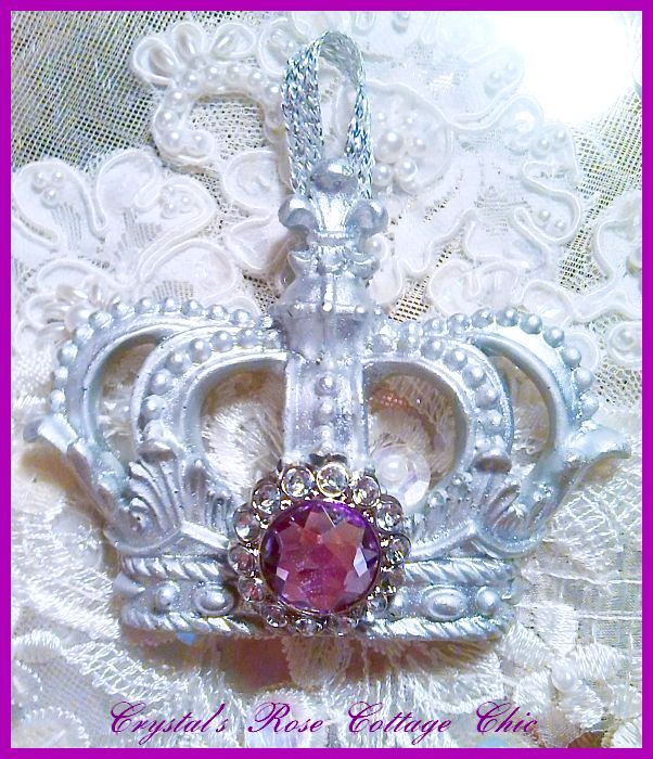 Silver Fleur de Lis Crown Ornament ..Color Choices