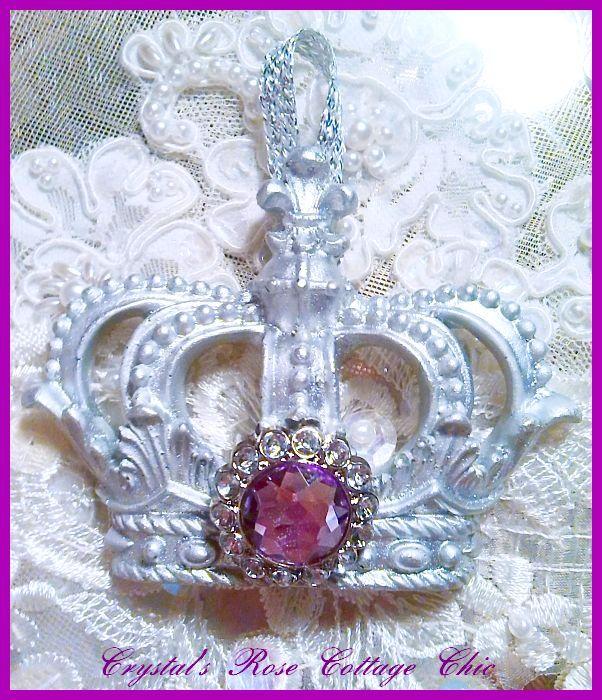 Silver Fleur de Lis Crown Ornament ..Color Choices