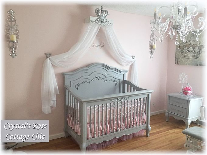Silver Lux Princess Bed Crown Canopy Teester w/ Hold Back Hooks & Sheers