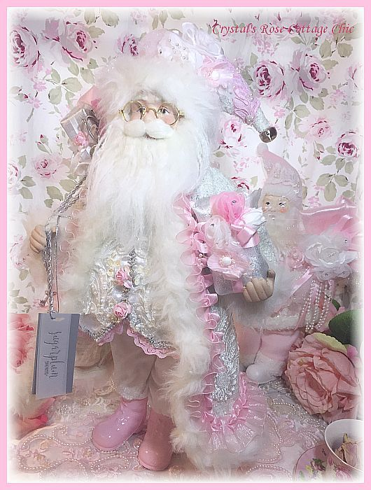 Pink Rose, White and  Silver Santa