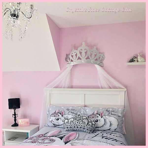 Silver Bed Crown Canopy Girls Room Black Pink