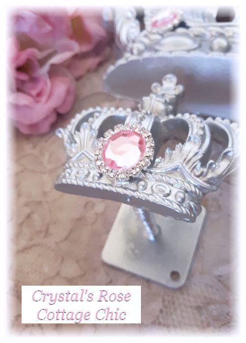 Silver Princess Bed Crown Set with Pink Rhinestones