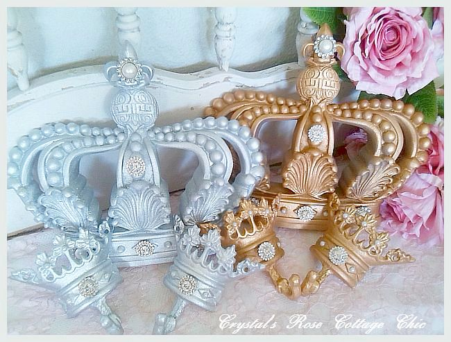 Crystal Rhinestone, Fleur de Lis Bed Crown Set..Choice of Colors
