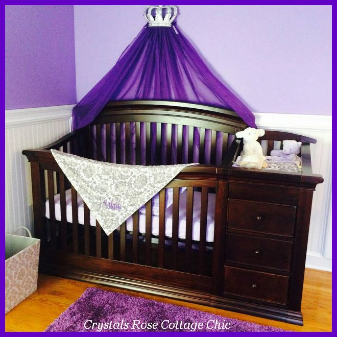 Silver Fleur de Lis Bed Crown Canopy Purple Lavender Nursery