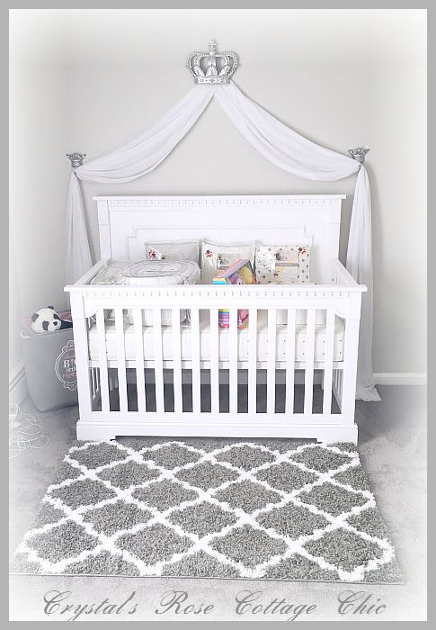 Silver bed crown canopy grey white nurery crib