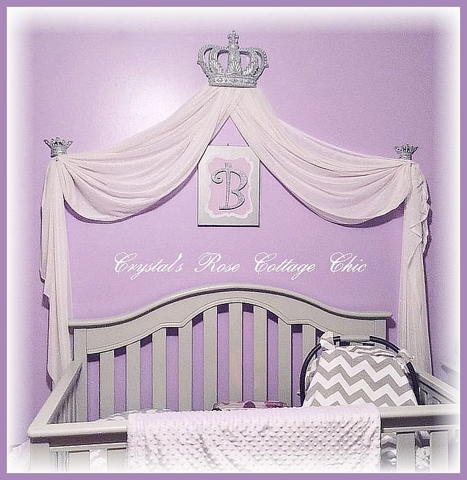 silver bed crown canopy lilac lavender crib nursery