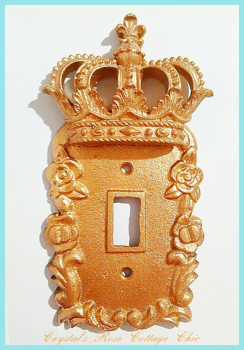 Single Toggle Victorian Rose Crown Wall Plate..Color Choices