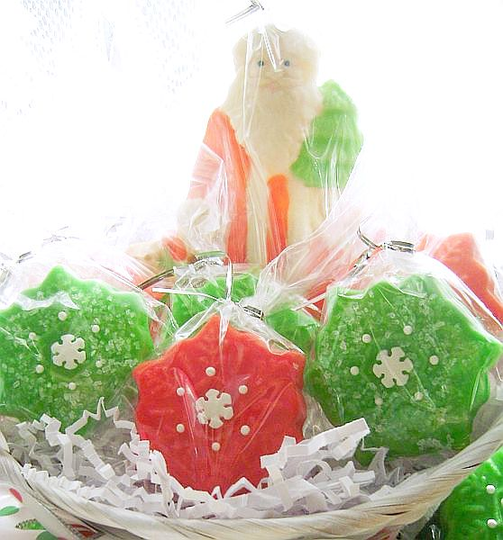 Vintage Style Santa and Snowflake Cookie Gift Basket