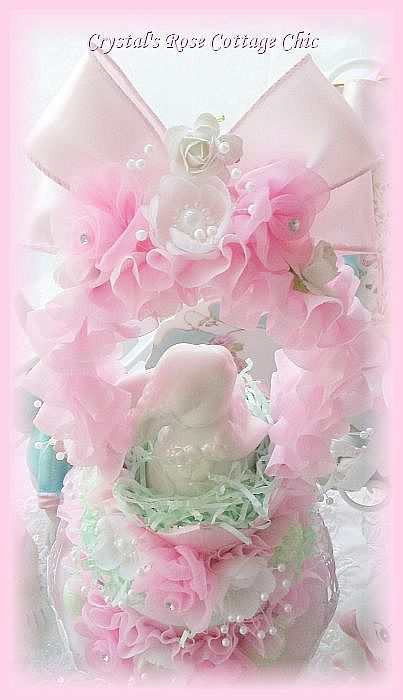 Pink Roses and Ruffles Bunny Candy Box