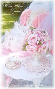 Shabby Chic pink chair take time to dream tea photo