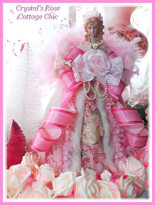 Pink Christmas Tea Angel Tree Topper/Centerpiece