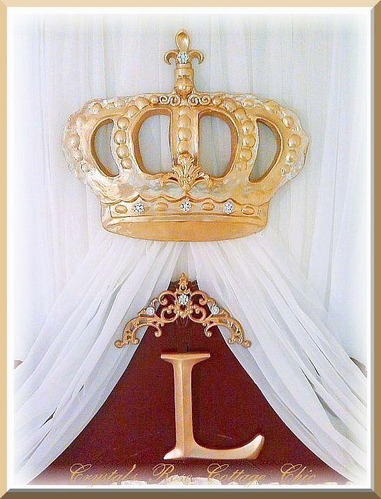 Crystal Rhinestone Fleur de Lis Bella Bed Crown...Color Choices