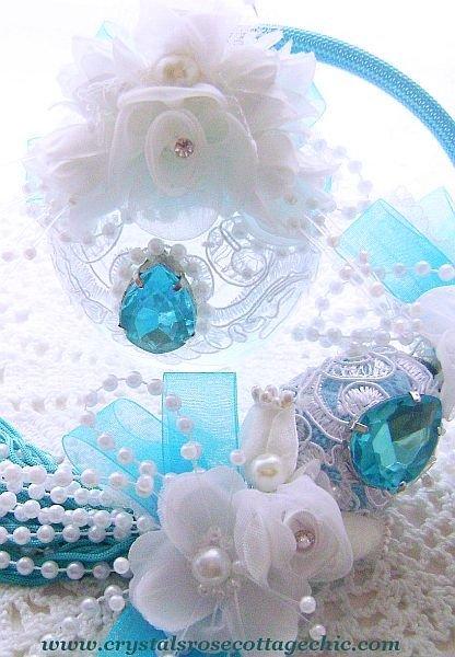 Victorian Tiffany Blue Embellished Parfum Atomizer