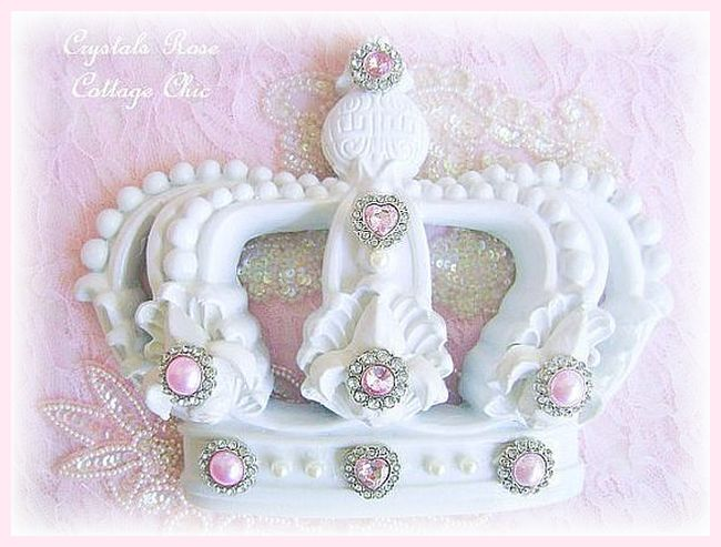 Shabby Pink and White Fleur de Lis Wall / Bed Crown