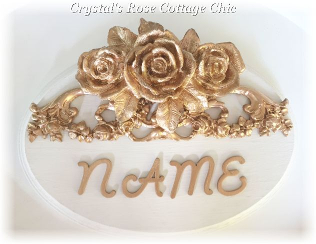 Triple Rose Floral Scroll Oval Name Plaque....Color Options