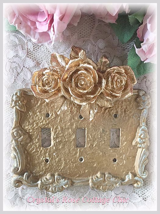 Triple Rose Triple Toggle Victorian Switchplate...Color and Paint Finish Options