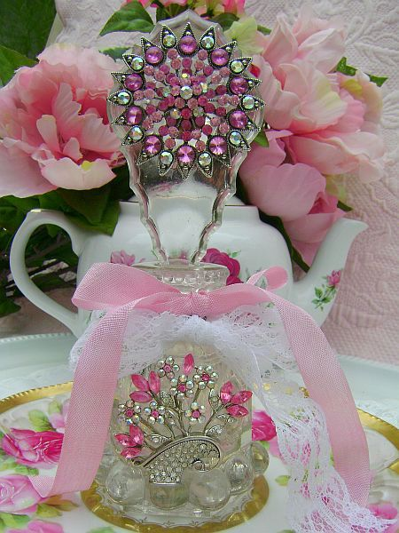 Rose Pink Rhinestone Vintage Perfume Bottle