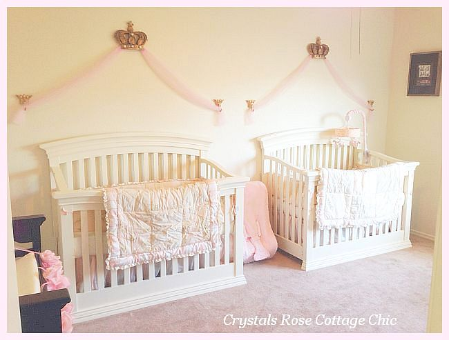 Princess Bed Crown Canopy Twin Girls Nursery Decor