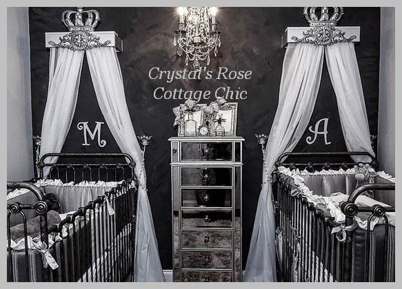 Twin Nursery Bed Crown Canopy Teester