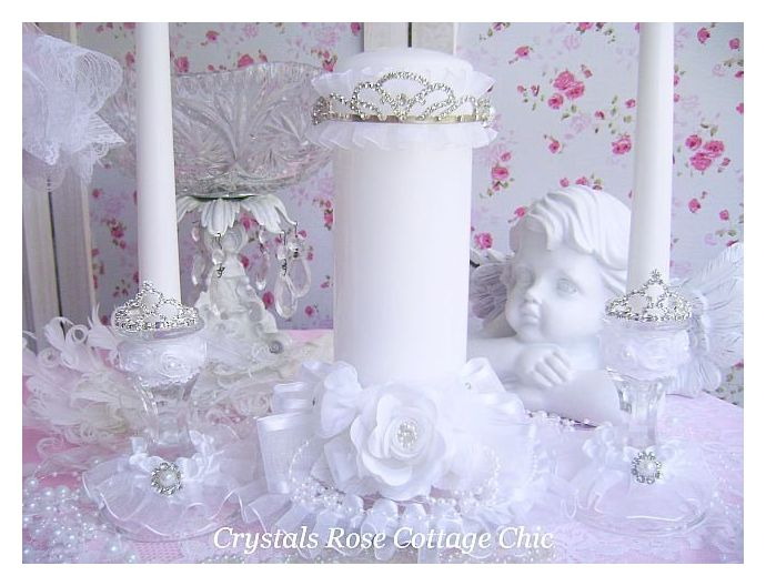 Wedding Unity Candle Set Rhinestone Tiara