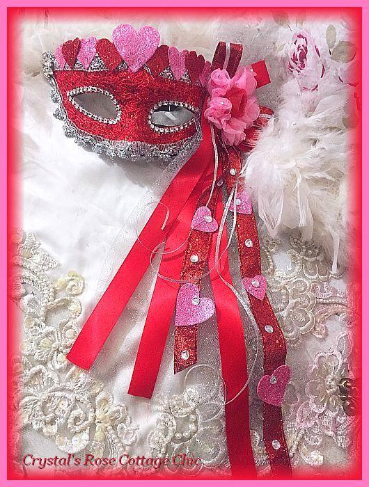 Pink & Red Rosette Heart Mask