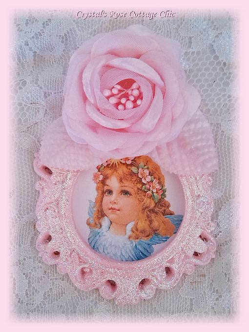 Vintage Cherub with Blue Wings in Ornate Pink Rose Frame