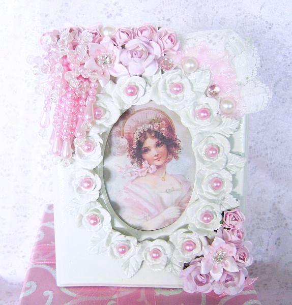Victorian Girl in Pink Framed in Roses