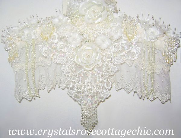 Victorian Lace Ivory Rose Hanger