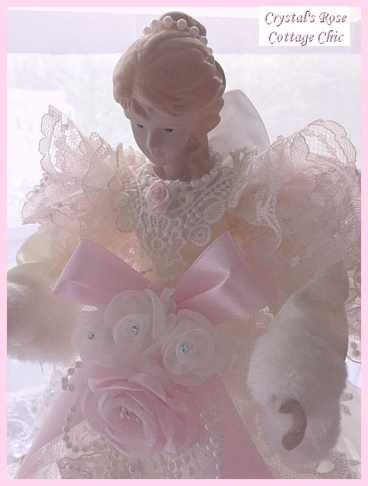 Pink Lace Wings Angel Tree Topper, 16 Inch