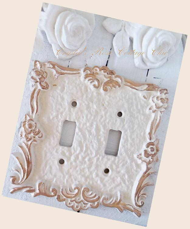 Victorian Rose Double Toggle Distressed Wallplate..Color Choices