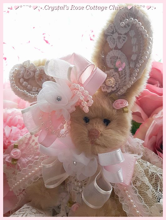 Pink Rose & Lace Victorian Bunny