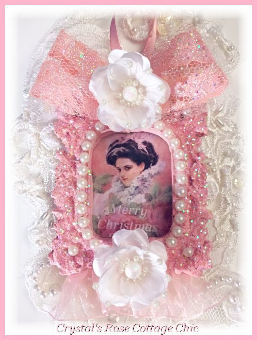 Victorian Lady Pink Glitter Frame Ornament...Free Shipping