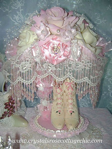 Pink Beaded Victorian Lamp