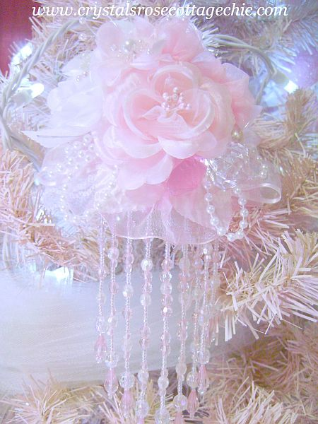 Pink Rose Ruffle Victorian Ornament