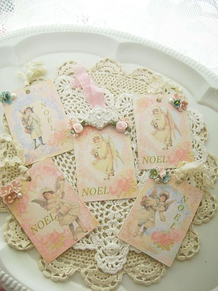 Vintage Angel Noel Tags