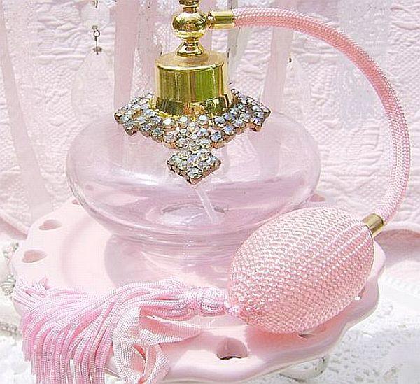 Vintage Bejeweled Pink Atomizer