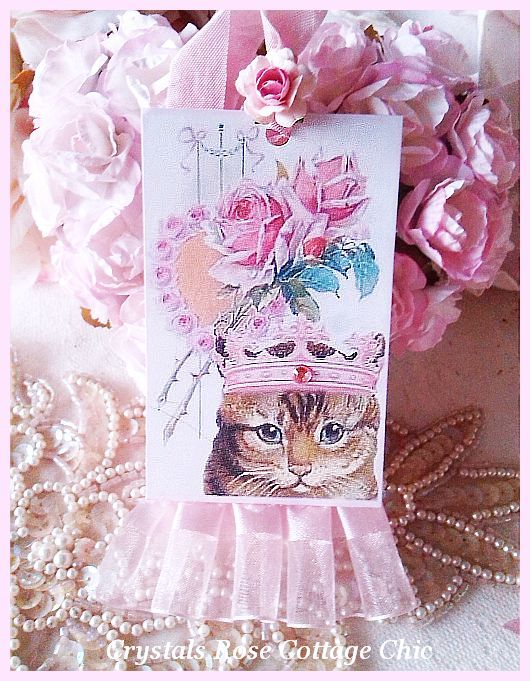 Pink Crown Vintage Cat Tag