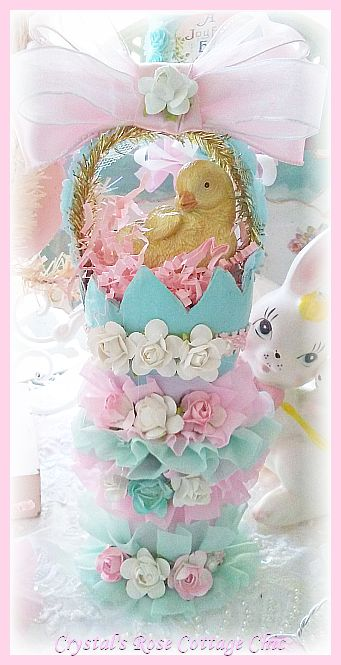 Vintage Charm,Easter Chick with Ruffles and Roses