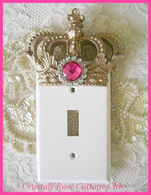 Vintage Gold Crown Switchplate Cover with Hot Pink Rinestone