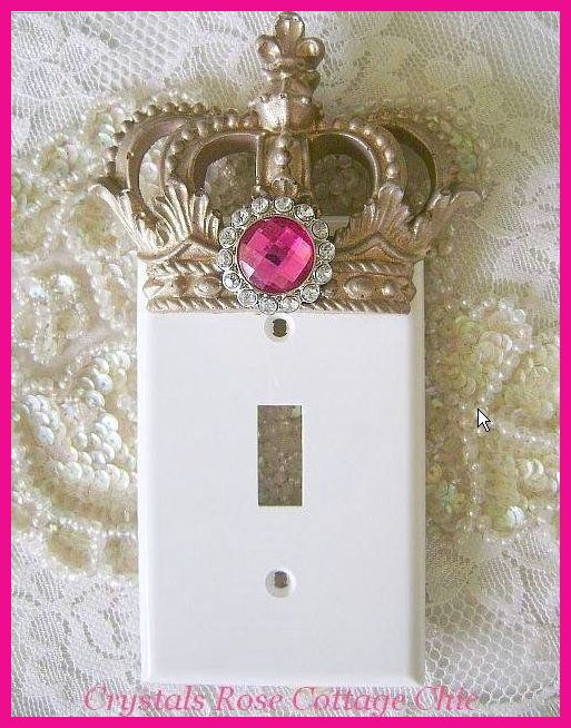 French Champagne Crown Switchplate Cover with Hot Pink Rhinestone