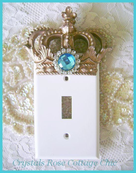 Vintage Gold Crown Switchplate Cover with Turquoise Rhinestone