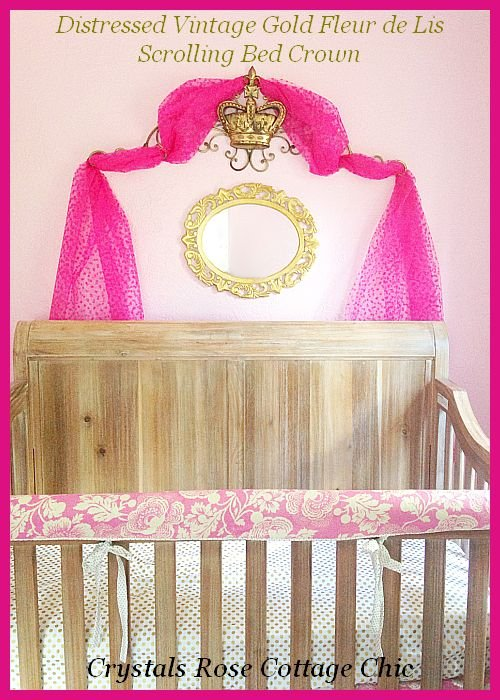 Vintage Gold bed Crown Canopy Pediment Nursery Girls room decor