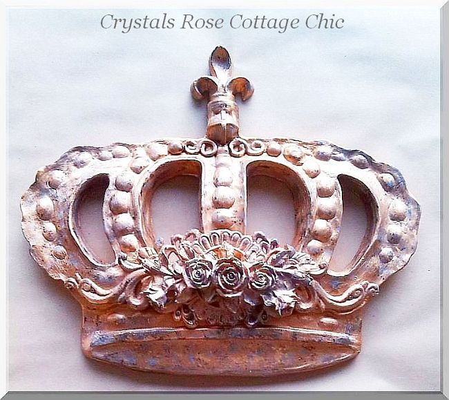 Vintage Gold Distressed Bella Rose Baroque Bed Crown
