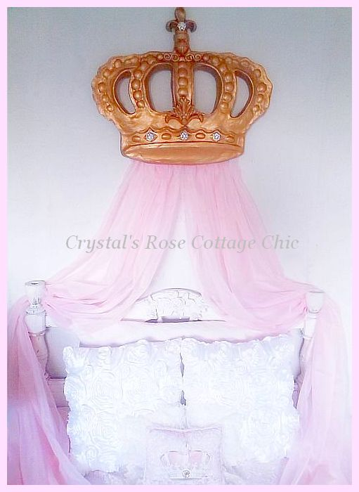 Vintage Gold Crystal Rhinestone Fleur de Lis Bella Bed Crown...Color Options